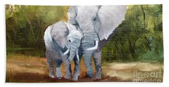 Mother Love Elephants Beach Towel