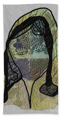 Beach Towel featuring the mixed media Mother Teresa  Never Forget by Ann Calvo