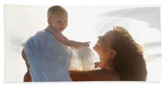 Mother With Baby In Pure Joy, Marin County, California Beach Sheet