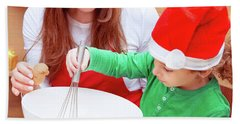 Mother With Son Baking Christmas Cookies Beach Sheet