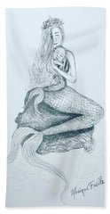 Beach Towel featuring the drawing Motherhood Mermaid by Monique Faella