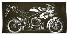 Motorcycle Blueprint Honda Cbr600 Gift For Him Gift For Her Beach Towel