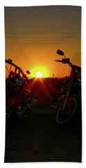Motorcycle Sunset Beach Towel