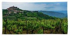 Motovun And Vineyards - Istrian Hill Town, Croatia Beach Sheet