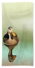 Mottled Duck Reflection Beach Sheet by Rosalie Scanlon