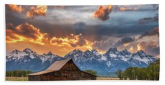Moulton Barn Sunset Fire Beach Towel