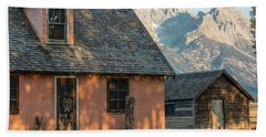 Beach Towel featuring the photograph Moulton Homestead - Pink House At Morning Light by Colleen Coccia