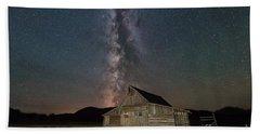 Moulton Ranch Cabin Milky Way On Mormon Row Beach Towel