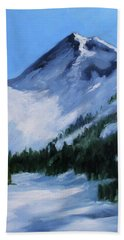 Beach Sheet featuring the painting Mount Baker Glacier by Nancy Merkle
