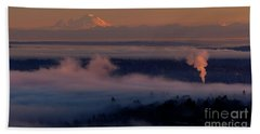Mount Baker In The Distance Beach Towel by Mike Reid