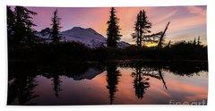 Mount Baker Sunrise Reflection Beach Towel by Mike Reid