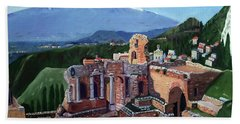 Mount Etna And Greek Theater In Taormina Sicily Beach Towel