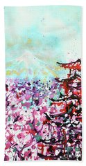 Beach Towel featuring the painting Mount Fuji And The Chureito Pagoda In Spring by Zaira Dzhaubaeva
