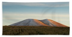 Mount Gutanasar In Front Of Wheat Field At Sunset, Armenia Beach Towel by Gurgen Bakhshetsyan