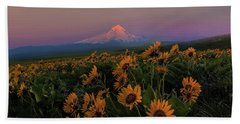 Mount Hood And Balsam Root Blooming In Spring Beach Sheet