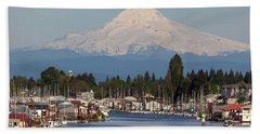 Mount Hood And Columbia River House Boats Beach Sheet