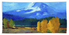 Beach Towel featuring the painting Mount Hood by Nancy Merkle