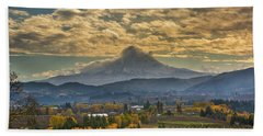 Mount Hood Over Farmland In Hood River In Fall Beach Towel