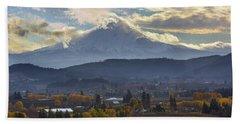 Mount Hood Over Hood River Valley In Fall Beach Towel