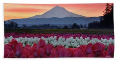Mount Hood Sunrise With Tulips Beach Towel