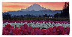 Mount Hood Sunrise With Tulips Beach Towel