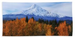 Mount Hood With Fall Colors  Beach Sheet by Lynn Hopwood