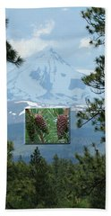 Mount Jefferson With Pines Beach Towel by Laddie Halupa