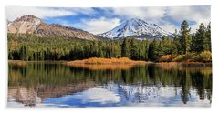 Mount Lassen Reflections Panorama Beach Towel by James Eddy
