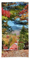 Beach Towel featuring the photograph Mount Mansfield Seen Through Fall Foliage by Jeff Folger