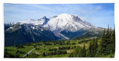 Beach Sheet featuring the photograph Mount Rainier At Sunrise by Lynn Hopwood
