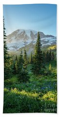 Mount Rainier Golden Meadows Light And Shadows Beach Sheet
