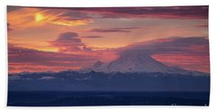 Mount Rainier Morning Fire Beach Sheet by Mike Reid