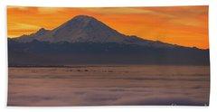 Mount Rainier Sunrise Light Above The Fog Beach Towel