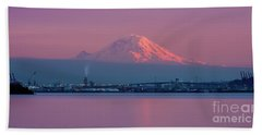 Mount Rainier Sunset Reflection Beach Towel