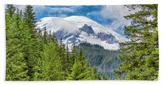 Beach Sheet featuring the photograph Mount Rainier View by Stephen Stookey