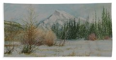 Mount Rundle In Winter Beach Towel