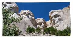 Mount Rushmore Close Up View Beach Sheet