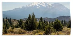 Beach Towel featuring the photograph Mount Shasta And Shastina by Frank Wilson