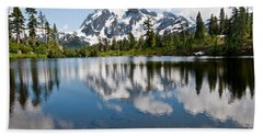 Mount Shuksan Reflected In Picture Lake Beach Sheet