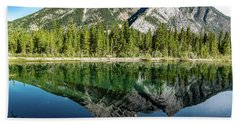 Mount Skogan Reflected In Mount Lorette Ponds, Bow Valley Provin Beach Towel