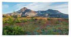 Mount St Helens Fields Of Wildflowers Beach Towel by Mike Reid