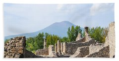 Mount Vesuvius Beyond The Ruins Of Pompei Beach Towel