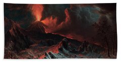 Mount Vesuvius At Midnight Beach Towel