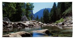 Mountain Behind Pine Trees, Tenaya Beach Towel
