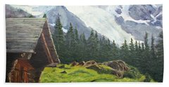 Mountain Cabin Beach Towel