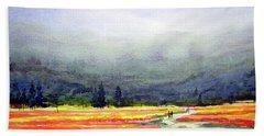 Mountain Flowers Valley Beach Sheet by Samiran Sarkar