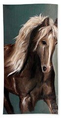 Beach Towel featuring the painting Mountain Horse Fever by Barbie Batson