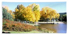 Mountain Lake Autumn Beach Towel