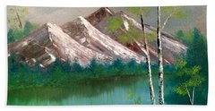 Beach Sheet featuring the painting Mountain Lake by Denise Tomasura