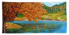 Mountain Lake In Greece Beach Towel